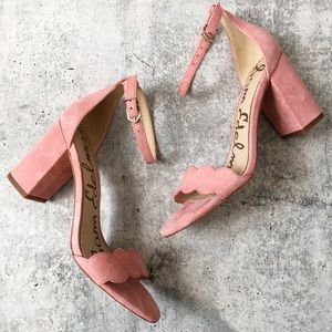 New Sam Edelman Odila Pink Suede Scalloped Heels